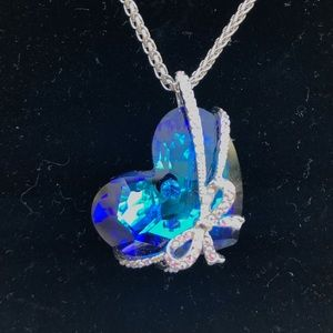 "Jewelry - 🆕 ""Love You Forever"" Blue Crystal Heart Pendant"